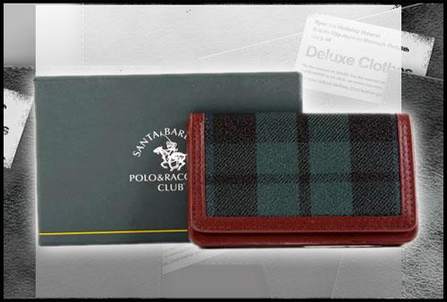 缺貨 聖大保羅Santa Barbara Polo(美系) 綠格紋磁扣名片夾☆新款☆032
