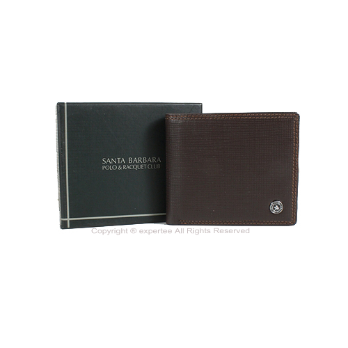 【騷包館】聖大保羅 Santa Barbara Polo 經典格紋 牛皮 左右翻內釦式零錢袋短夾 SB01-14002