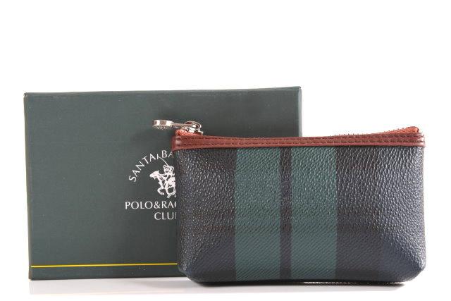聖大保羅Santa Barbara Polo(美系) 綠格紋拉鍊零錢包 014