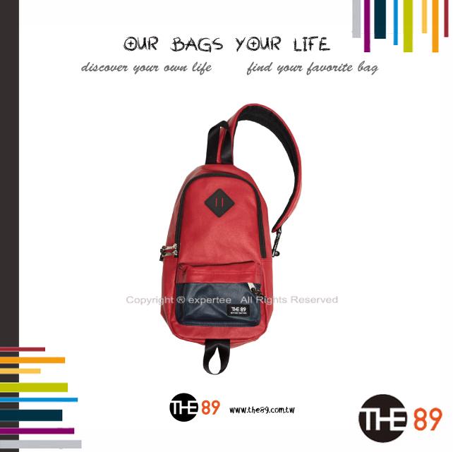 【騷包館】THE89 美國時尚品牌 撞色單邊肩後背包 紅藍 THE-942-1701-108