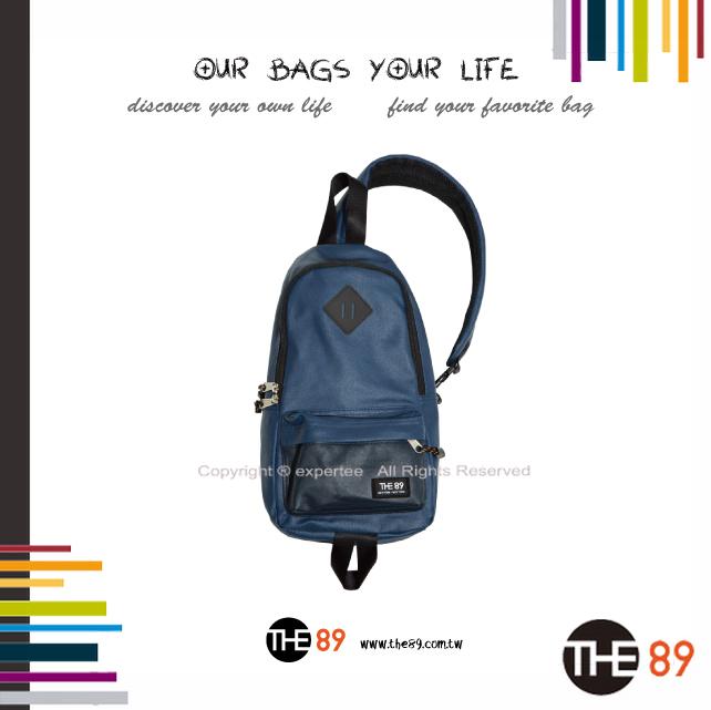 【騷包館】THE89 美國時尚品牌 撞色單邊肩後背包 藍黑 THE-942-1701-508