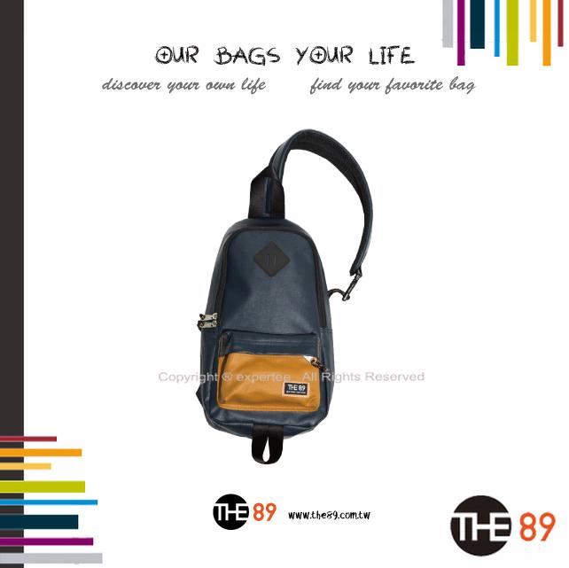 【騷包館】THE89 美國時尚品牌 撞色單邊肩後背包 藍啡 THE-942-1701-518