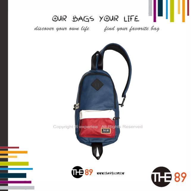 【騷包館】THE89 美國時尚品牌 撞色單邊肩後背包 藍白紅 THE-942-1702-008