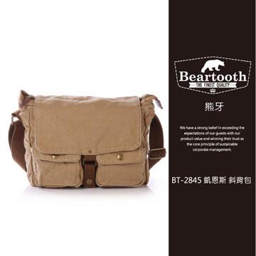 預訂【騷包館】【Beartooth】熊牙 大地風格 天然棉質帆布 牛皮縫製 BT-2845 凱恩斯 帆布斜背包 卡其