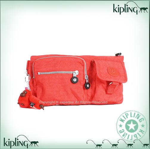 【騷包館】【Kipling】BASIC系列 長型多口袋腰包 鮮紅 K-374-3192-143