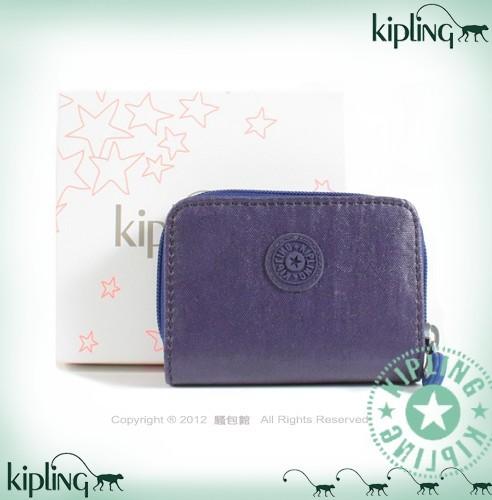 【騷包館】【Kipling】BASIC系列 漆皮2折對開後拉鍊短夾 紫色37999-2253-266