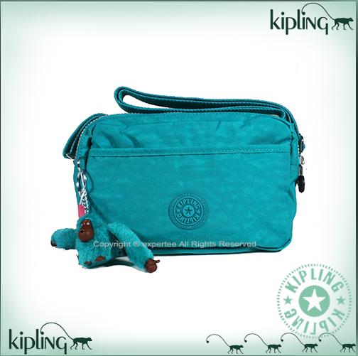 【騷包館】【Kipling】BASIC系列 前拉鏈斜背長型小圓包 寶石藍綠 K-374-5372-440