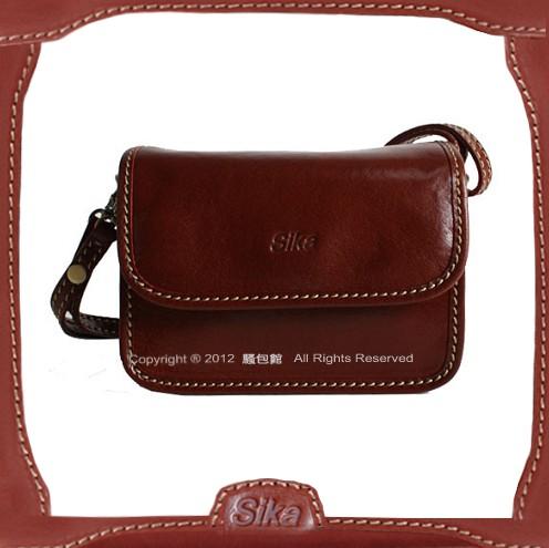【騷包館】Sika 義大利牛皮 護士三夾層斜背包 深咖啡M6102-02