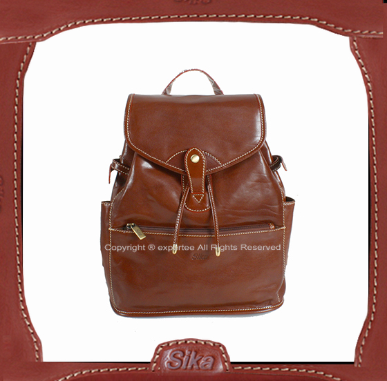 預訂【騷包館】Sika 義大利牛皮 扣式兩側口袋後背包 咖啡 M6150-01