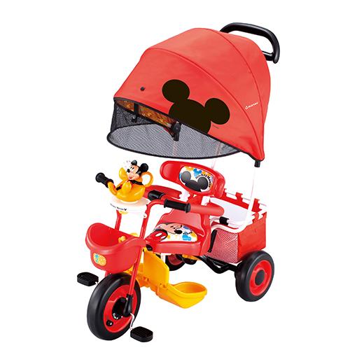【淘氣寳寳】2015年最新 日本IDES 米奇+汽笛玩具大遮陽三輪車/大遮陽篷抗UV99%)(紅)【贈:天然草本抗菌洗手乳250ml/原價399元】