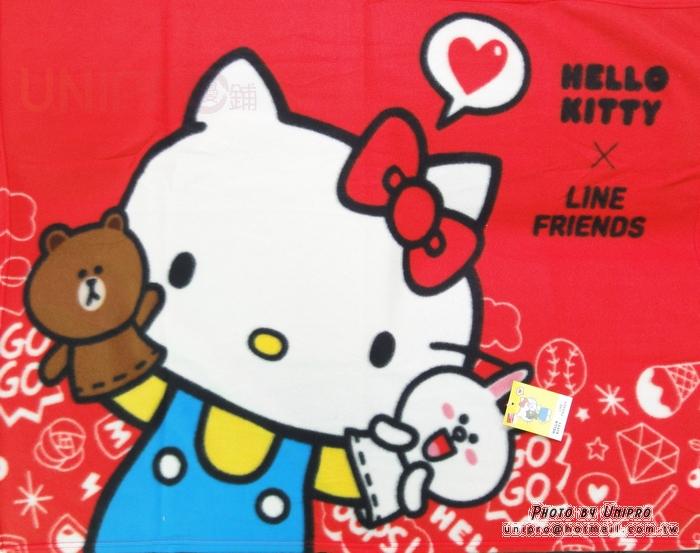 【UNIPRO】Hello Kity x LINE FRIENDS 熊大 毯子 刷毛毯 野餐墊 薄毯 BABY毯 KT