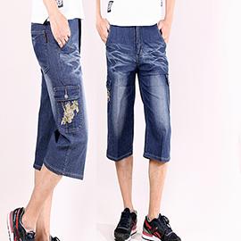 【CS衣舖 】 多口袋造型 彈力伸縮 工作牛仔短褲 6454