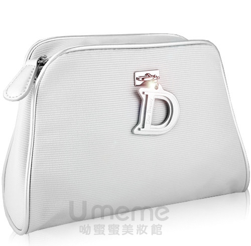 DIOR迪奧  限量D 銀色化妝包/手拿包