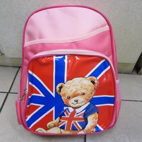 ~雪黛屋~泰迪熊經典透氣背墊書包上學書包可放A4資夾正版授權公司品加強護脊透氣 TD2C12粉紅