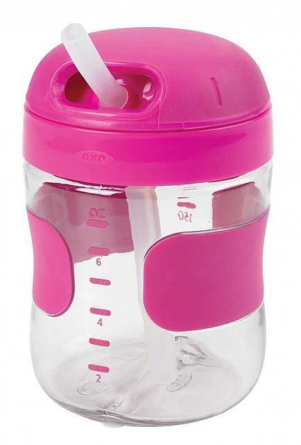 美國 OXO 兒童喝水訓練杯 吸管喝水杯 200ml / 7oz 桃紅色 *夏日微風*