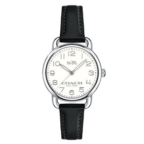 【Coach】質感皮帶28mm女錶-黑色