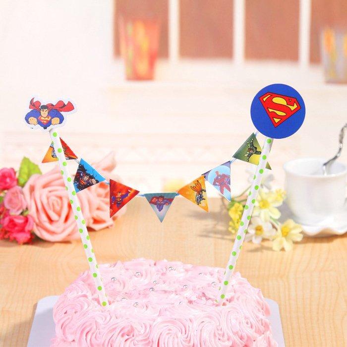 =優生活=兒童生日派對裝飾拉旗 生日蛋糕插旗拉旗拉花裝扮用品 婚慶婚禮裝飾 野餐派對 情人節裝飾【超人】