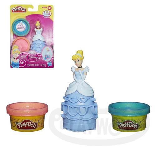 【Playwoods】[培樂多黏土PLAYDOH]迪士尼公主遊戲組-灰姑娘仙杜瑞拉Princess Cinderella(含兩罐閃亮黏土/仙度瑞拉/玻璃鞋/公主系列/Disney/安全無毒/DIY/安全/幼兒玩具/益智/孩之寶Hasbro)