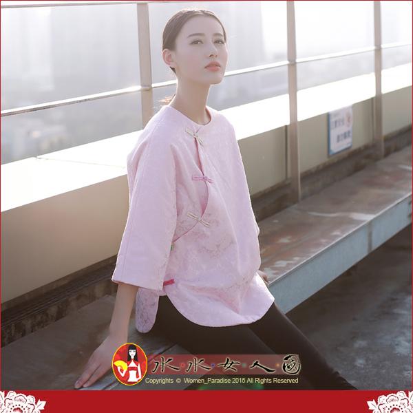 【水水女人國】~優雅中國風~陽光普照~精彩(粉)。復古提紋印花時尚改良式旗袍式唐裝寬鬆休閒中袖上衣