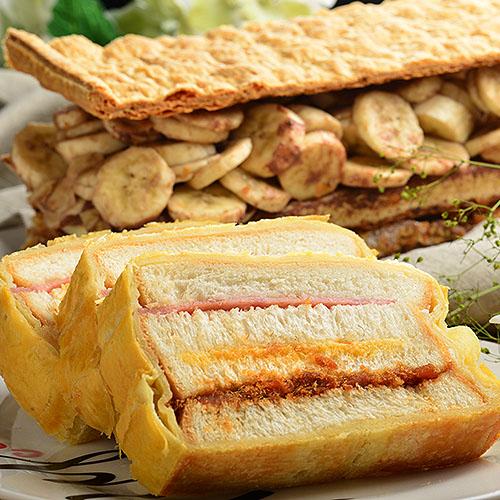 【拿破崙先生】拿破崙蛋糕_熱賣口味任選1盒+火腿起酥三明治1條(早午餐的第一首選,電鍋回魂法,蒸的超美味