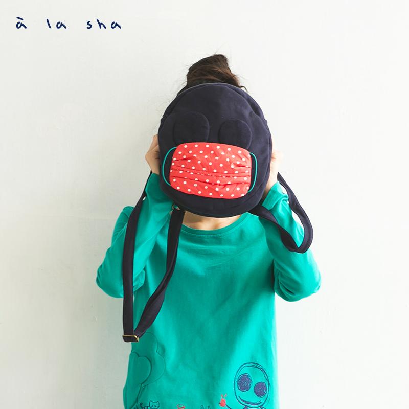 a la sha 阿財戴口罩兩用背包