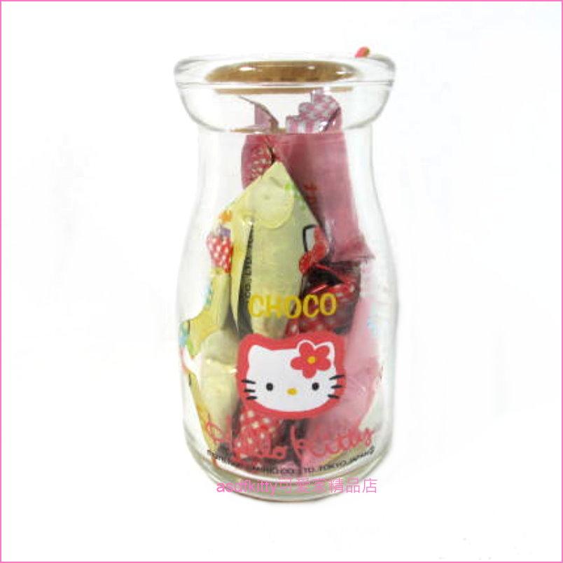 asdfkitty可愛家☆二手絕版商品-KITTY小玻璃牛奶瓶/玻璃罐-日本正版商品