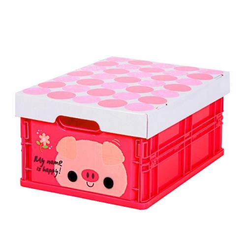 可愛動物摺疊式收納箱 (小豬)