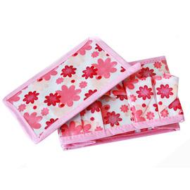 【桌上收納】粉紅小花多用途化妝品收納盒(2入)