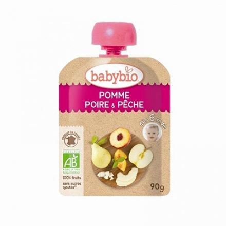 『121婦嬰用品館』法國倍優babybio 有機蘋果洋梨纖果泥90g(6個月)