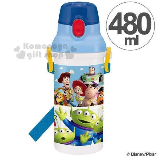 〔小禮堂〕迪士尼 玩具總動員 日製直飲式水壺《藍.三眼怪.朋友》480ml
