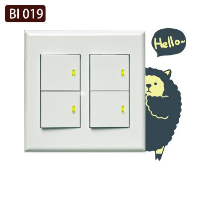 創意時尚無痕環保PVC壁貼牆貼BI019害羞熊貓開關貼防水不傷牆面可重覆撕貼