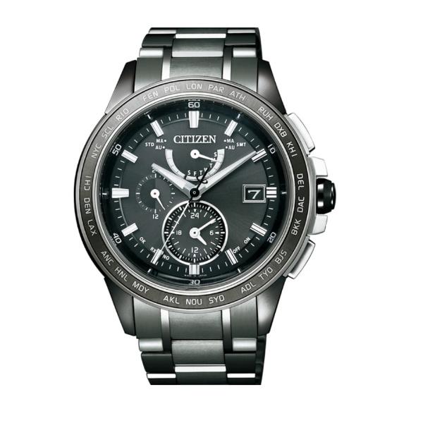 CITIZEN星辰AT9025-55E雙球面水晶玻璃高科技電波光動能腕錶/黑面42mm