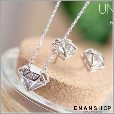 南宅急店【7361A】鑽石水鑽造型項鍊 韓國熱賣款 限定4色