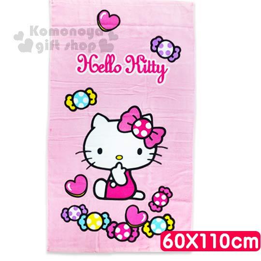 〔小禮堂〕Hello Kitty 小浴巾《粉.側坐.咬手指.糖果.60x110cm》