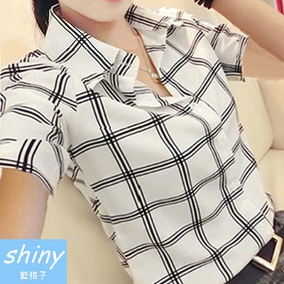 【T20485】shiny藍格子-清新自然.黑白大方格翻領長短袖襯衫