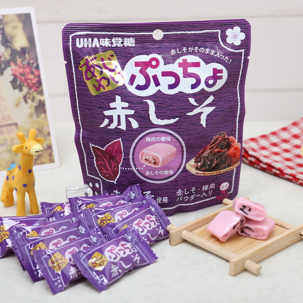 有樂町進口食品 日本進口 UHA味覺糖噗啾 紫蘇梅軟糖 60g 49027508666522