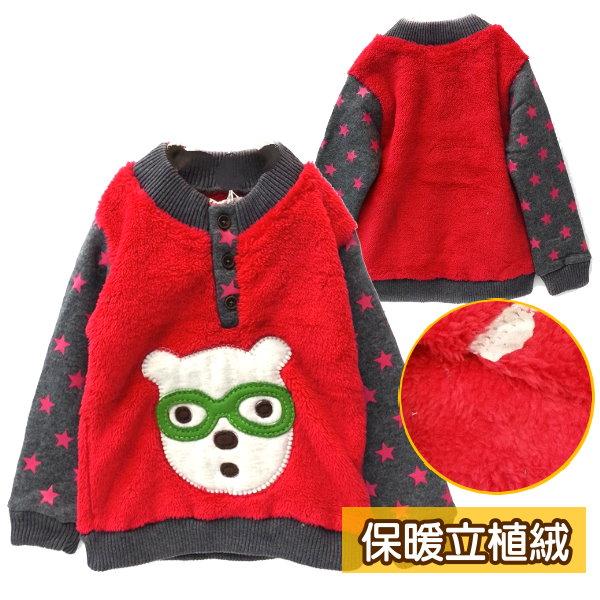 【班比納精品童裝】毛毯毛眼鏡兔星星接袖厚T-紅【BB141119012】