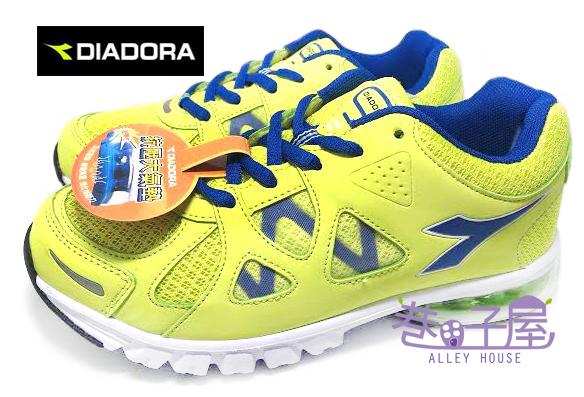 【巷子屋】義大利國寶鞋-DIADORA迪亞多納 大童寬楦抗壓大氣墊運動跑鞋 [9956] 螢光綠 超值價$498
