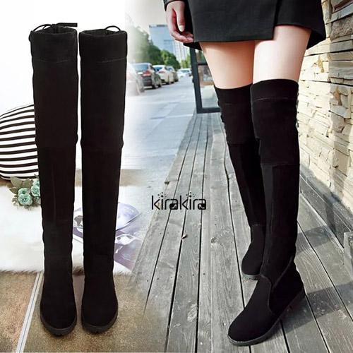 長靴-時尚絨面經典圓頭膝上靴-預購
