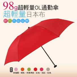 【momi宅便舖】98G超輕量通勤傘(紅色) / 抗UV /MIT洋傘/ 防曬傘 /雨傘 / 折傘 / 戶外用品