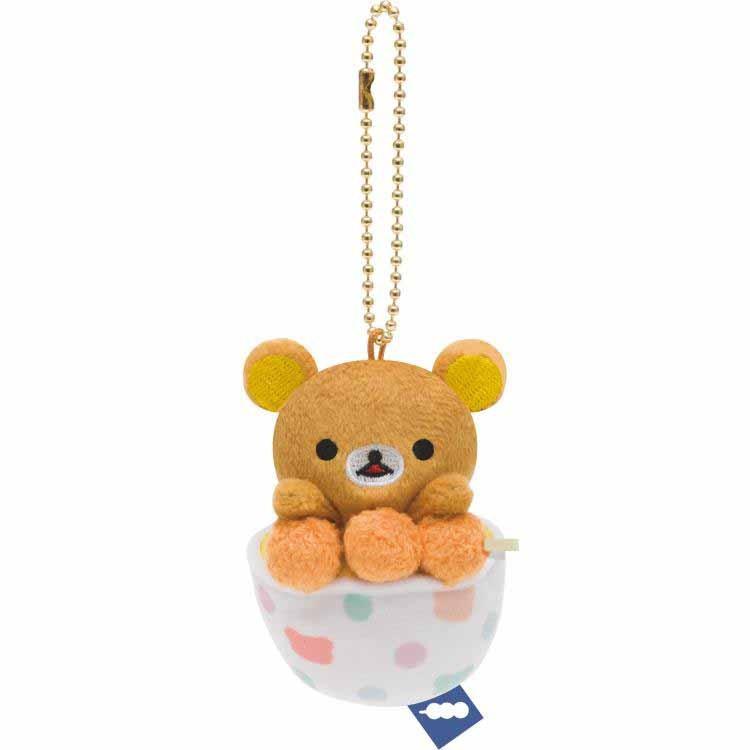 【真愛日本】16082700050絨毛娃鎖圈-茶屋丸子懶熊   SAN-X 懶熊  奶熊 拉拉熊  鑰匙圈 鎖圈 吊飾