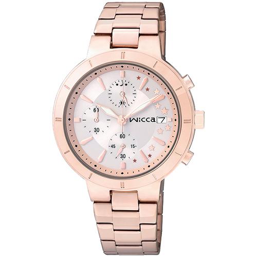 CITIZEN星辰WICCA(BM2-225-11)玫瑰金三環時尚典雅腕錶/白面34mm