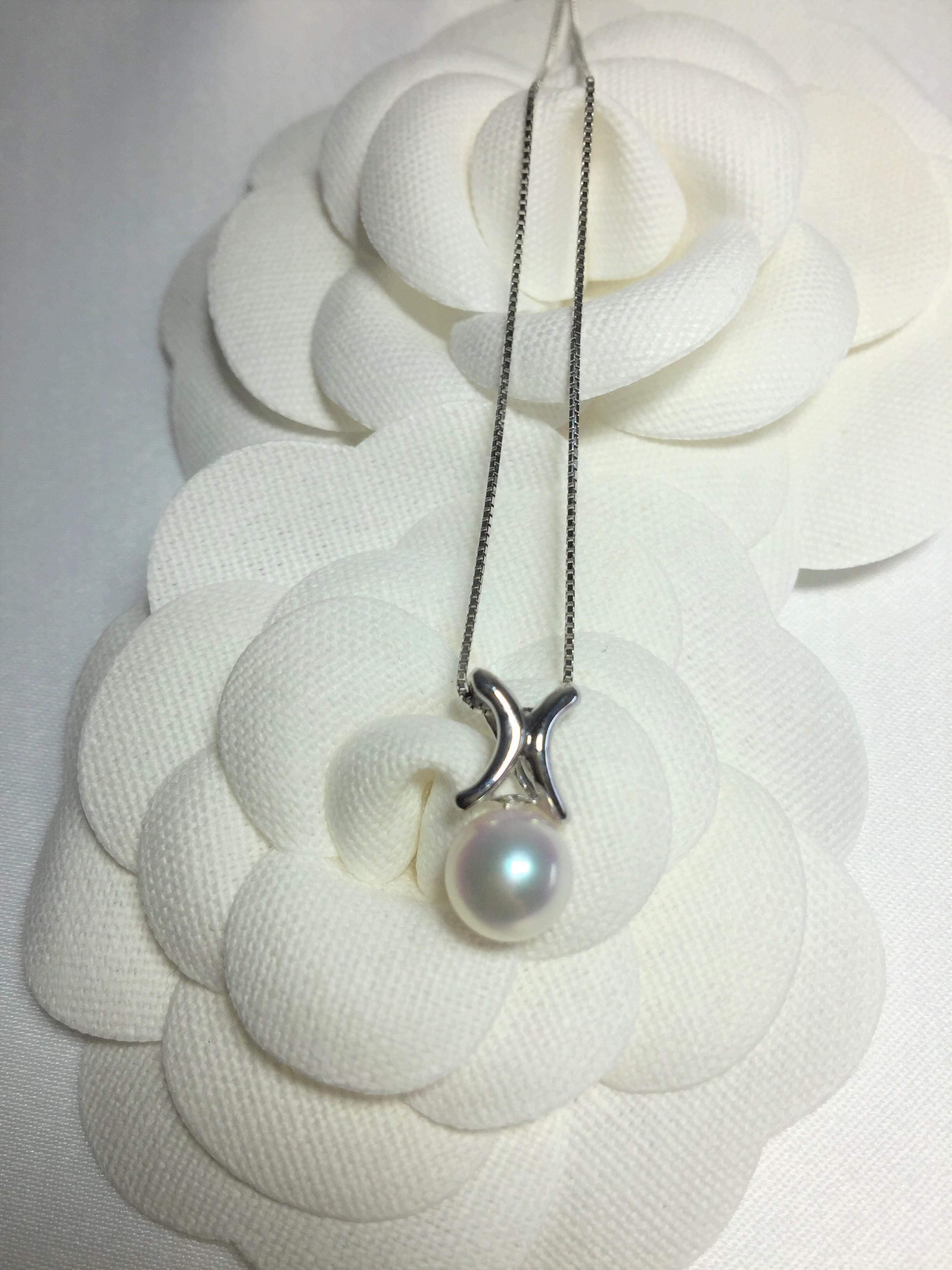 MIKIMOTO等級_日本AKOYA海水珍珠白18K金X型項鍊_日本大正時代創立「清太屋」