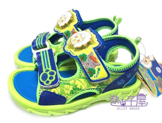 【巷子屋】喜羊羊 男童造型電燈運動休閒涼鞋 [45106] 藍綠 MIT台灣製造 超值價$198