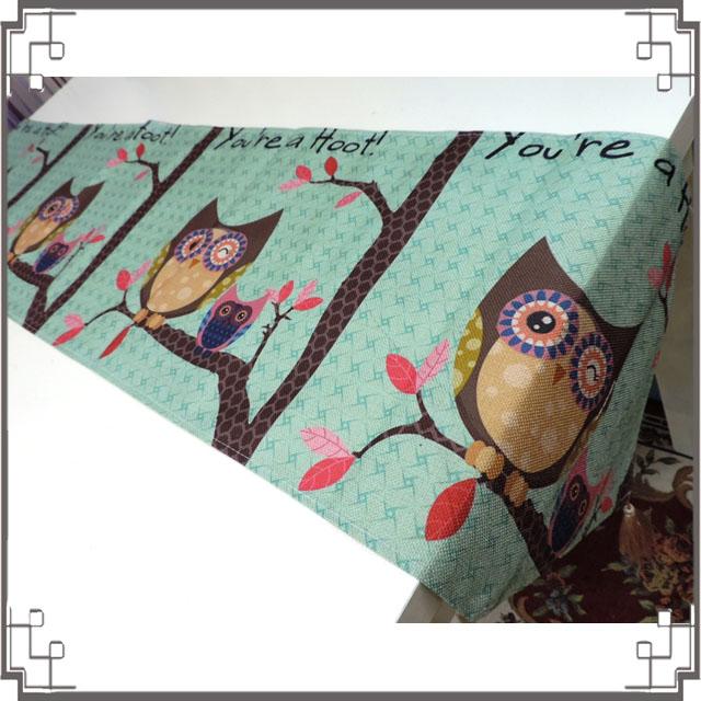 棉麻桌旗《33X180-21》鄉村貓頭鷹桌旗巾 桌布 桌巾 桌墊 三角桌巾 ZAKKA風家飾◤彩虹森林◥