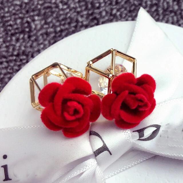 韓 耳環飾品 布絨花朵玫瑰 鏤空幾何切面 魔方玫瑰水晶大力丸大粒丸玫瑰金色 耳環耳針耳釘耳墜耳飾 大力丸玻璃球