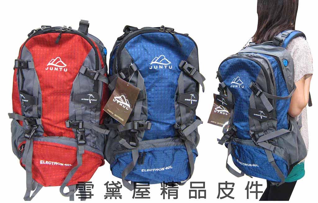 ~雪黛屋~wanabgg後背包40L容量三層主袋胸前服貼釦腰部分攤超輕防水尼龍布可A4資夾HS600-001-4