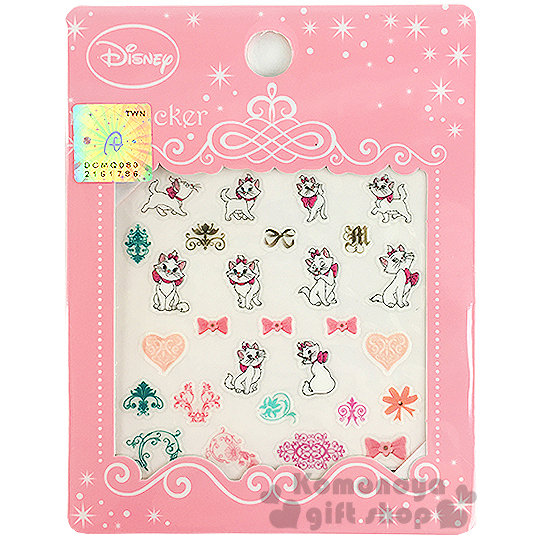 〔小禮堂〕迪士尼 瑪麗貓 造型指甲貼《多動作.蝴蝶結.愛心.粉包裝》