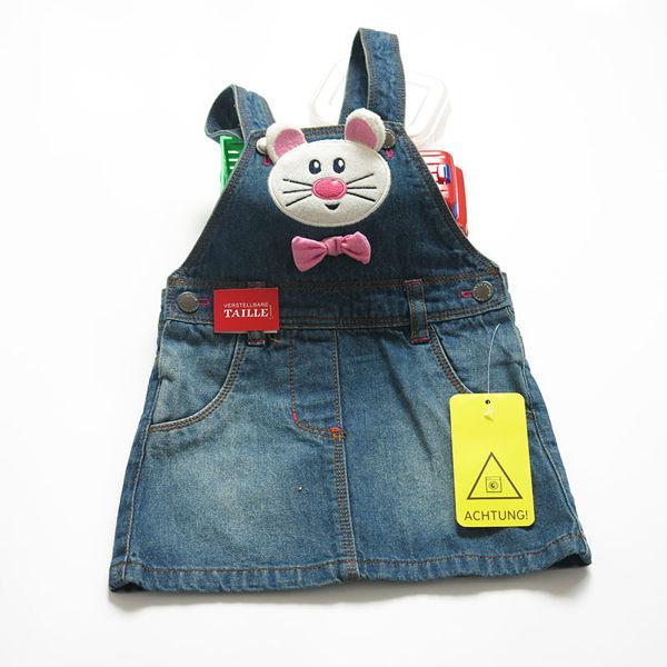 EMMA商城~外貿款女童夏季新款兒童可愛小老鼠牛仔背帶裙吊帶裙(74CM~92CM)