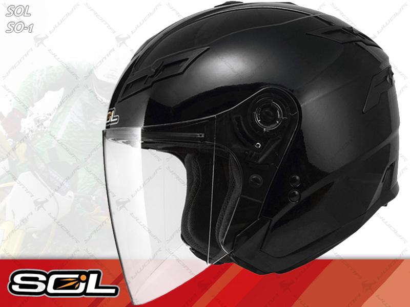 SOL安全帽|SO-1 / SO1 素色 黑 【內置墨片.LED燈】 半罩帽 『耀瑪騎士生活機車部品』